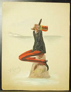 """Expressif Caricature """"triste Position"""" Des Anglais à Jersey Island 1900 Dessin Gouache Ile"""