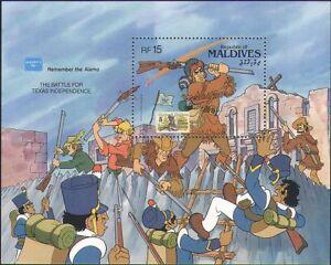 Maldivas-1986-Disney-Davy-Crockett-Alamo-stampex-Caricaturas-animacion-m-s-b4762f