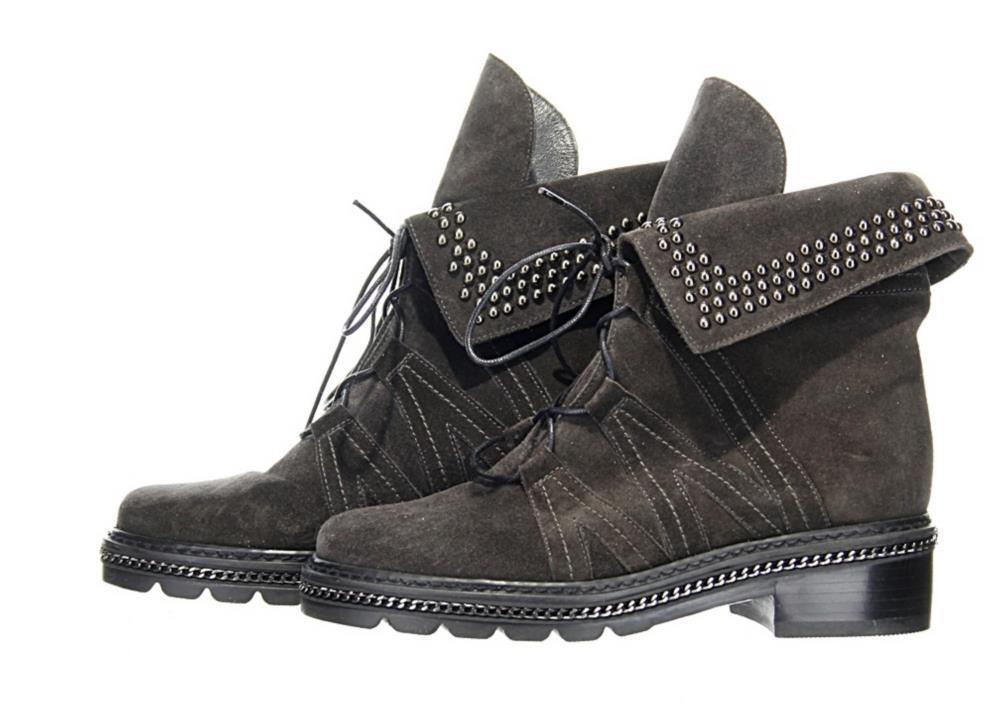 Stuart Weitzman Black Black Black Suede Yadastud Studded Combat Boots Booties Sz. 5 ab8373