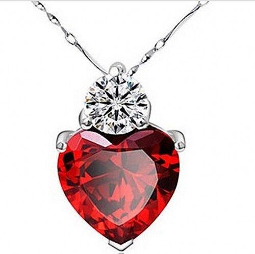 New 925 Sterling Silver Red Garnet Heart Crystal Pendant  W Jewelry Box