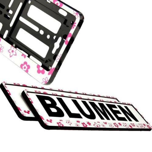 2x BLUMEN WEIß Kennzeichenrahmen Kennzeichenhalter Autoschildhalterung