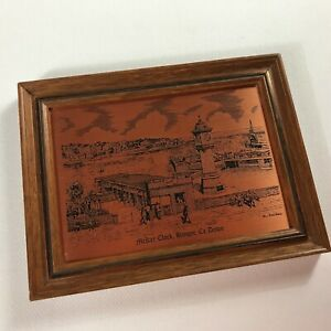 McKee-Clock-Copper-Etching-VTG-Framed-Art-Bangor-Co-England-UK-Essex-City-Town