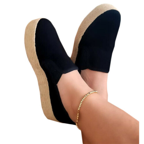 Women Round Toe Loafers Slip On Platform Low Top Flat Casual  Pump Comfort Shoes