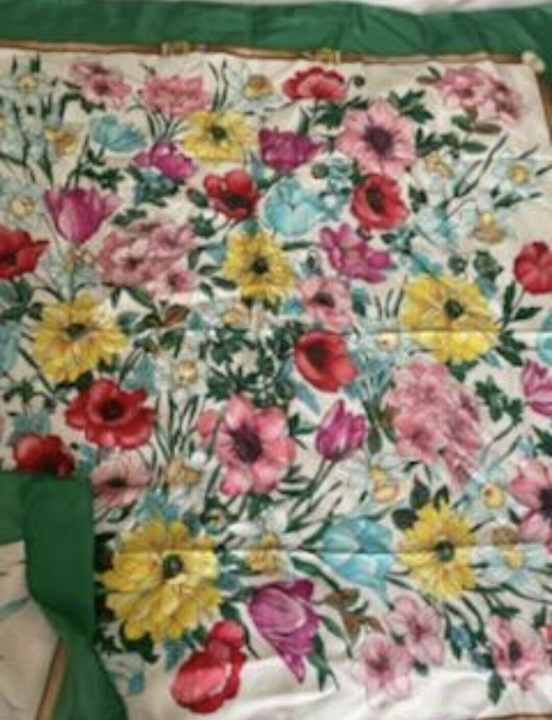 Vintage Gucci Floral 100% Silk Scarf Green/Multic… - image 4