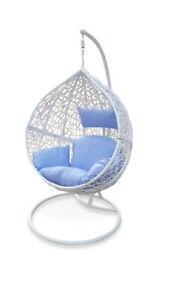 Outdoor Swing Hanging Egg Pod Chair White Wicker W Blue Cushions Ebay