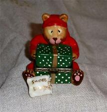 Vintage Teddy Bear in PJ's Hinged Glass Trinket Box with Pillow Inside