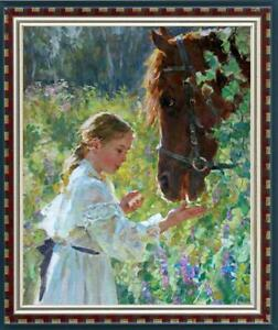 Hand-painted-Oil-painting-art-Original-Impressionism-girl-horse-on-Canvas-24x36-034
