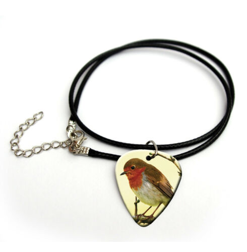 Robin Red Breast Guitar Pick Plectrum Necklace Keyring Pin Badge Earrings