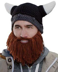 Image is loading Viking-Bearded-Knitted-Novelty-Joke-Woolen-Wool-Hat- 8a784c5cb4e