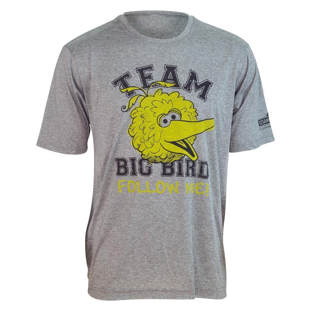 Brainstorm Gear Unisex Sesame Street TEAM BIG BIRD  Follow Me  Tech Shirt