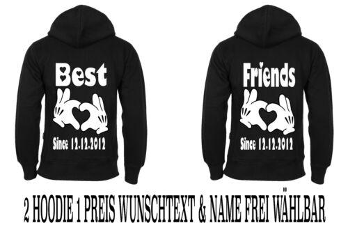 Hoodies mit Best Friends Motiv Partner Look 2 Stück viele Farben Größen XS 5XL
