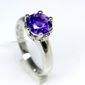 Natural Amethyst Round Cut Gemstone 925 Sterling Silver Women Tiny Prong Ring