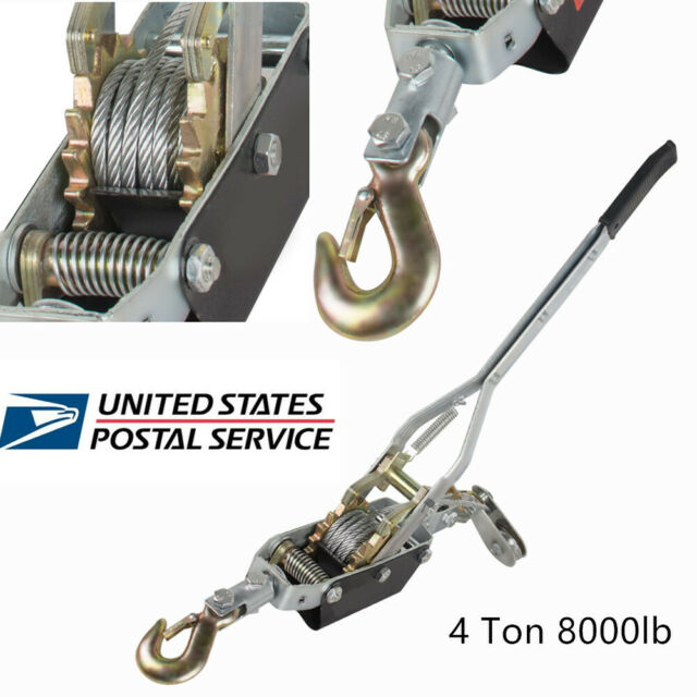 USA 4 Ton 8000lb Come Along Hoist Ratchet Hand Cable Winch Puller Crane w/  Hook