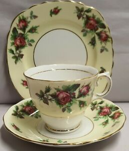 Vintage-Colclough-China-Ltd-Bone-China-Roses-Trio-c1945-48-Made-In-England