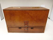 Vintage ? Wood Leather Portable Lap Table Travel Writing Desk Brass Handles