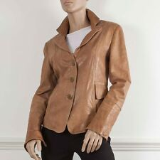 ARMANI COLLEZIONI Tan Leather Fitted Long Sleeve Jacket It 44 UK 12