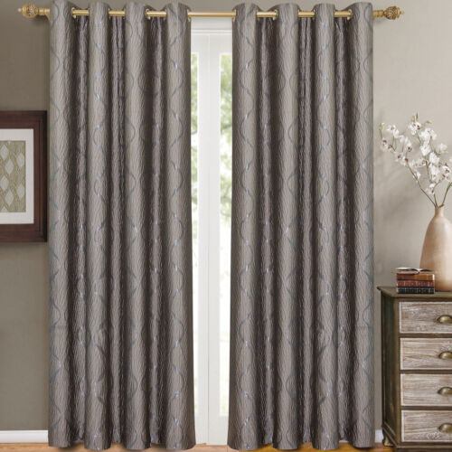 "2 Panels 52x 96/"" Laguna Swirl Jacquard Grommet Top Window Drapes /& Curtains"