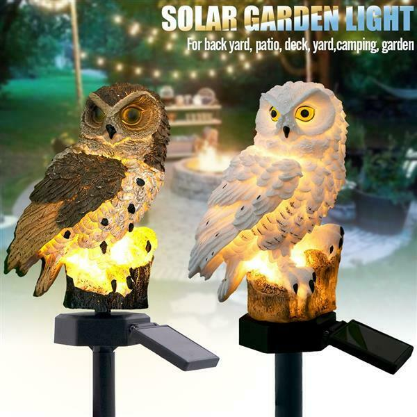 Outdoor Solar Power Garden Lights Waterproof Garden Lawn Yard Owl LED Landscape