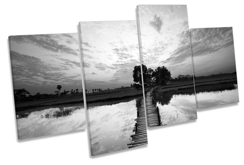 Lago tramonto molo Pier B&W A MURO MURO MURO ARTE Multi Box incorniciato 8c0c5d