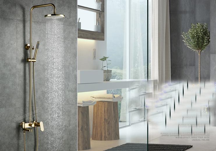 Or Brossé douche mélangeur robinet robinet Exposés Bain Baignoire Douche Kits avec douche à main