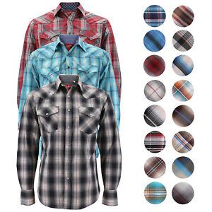 Men's Authentic Rodeo Cowboy Plaid Pearl Snap Button Up Western Dress Shirt
