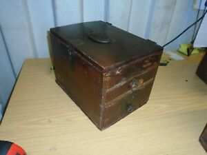 ANTIQUE-JAPANESE-EDO-ERA-ARTISTS-WOOD-CALLIGRAPHY-TANSU-BOX-DRAWS-IRON-WORK