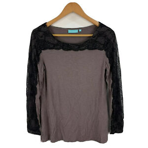 Blue-Illusion-Womens-Top-Size-XS-Brown-Long-Sleeve-Round-Neck-Lace-Trim