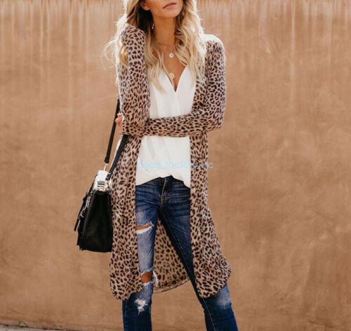 Womens Leopard Kimono Cardigan Open Front Boho Camo Long Sleeve Tops Maxi Coat//D