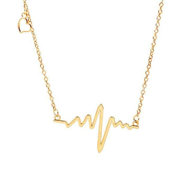 b925d72d0b9 Female New Korea Style Fashion Heart Frequency Waves Rose Gold Chain  Necklace