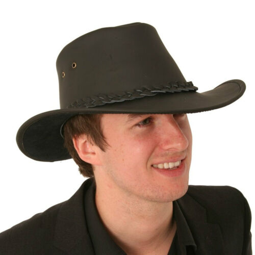 Gents 100/% Leather Australian Cowboy Hat in Black Size EXTRA LARGE