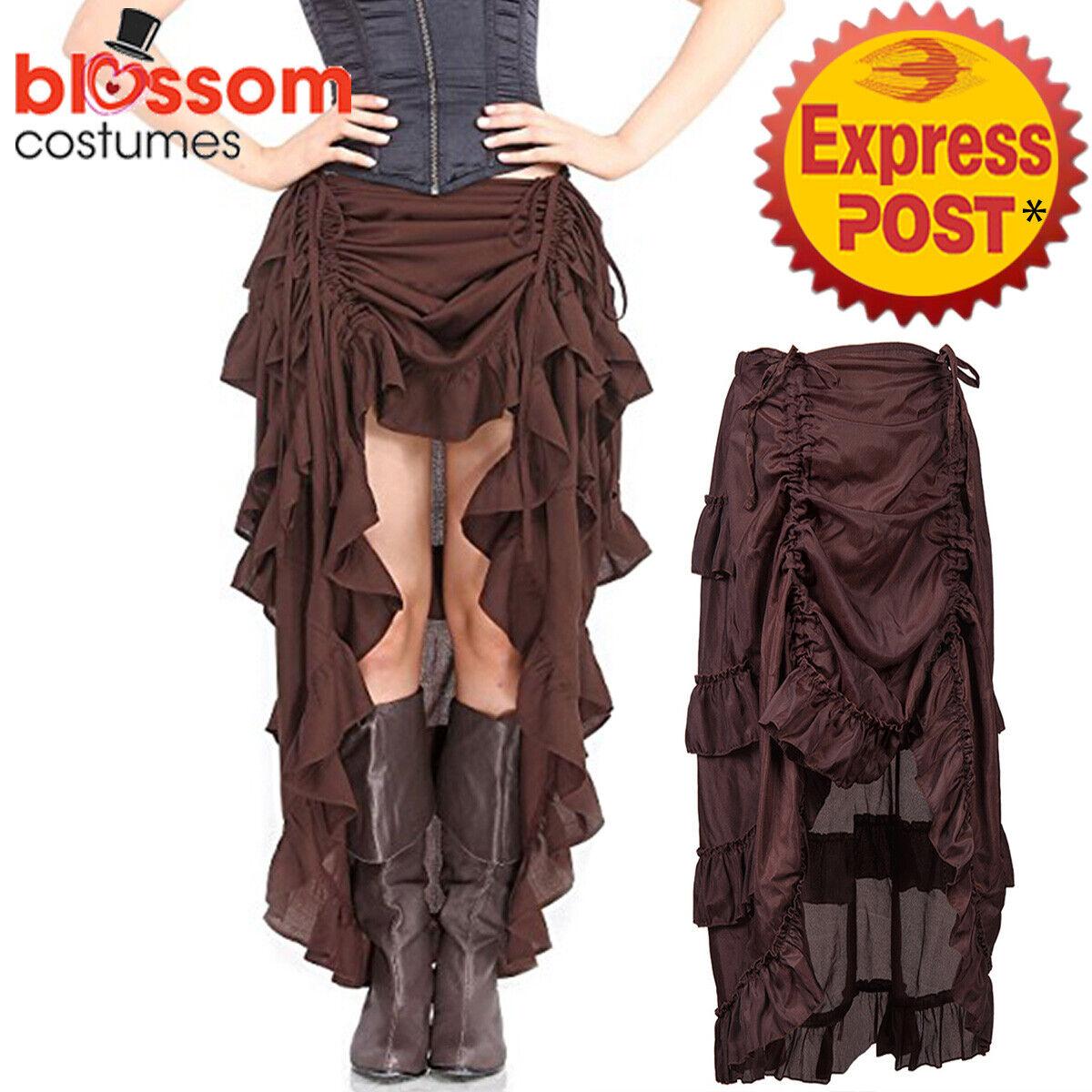K631 Brown Steampunk Goth Gypsy Vintage Ruffle Rockabilly Vintage Skirt Costume