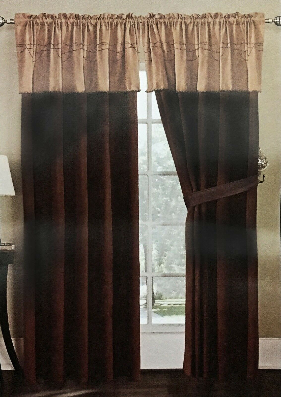 Luxury Texas Western Embroidery Barbed Wire Suede Curtain