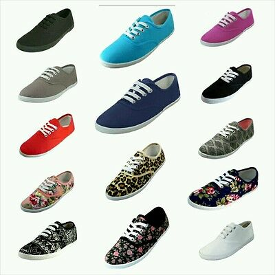 Women Girls Canvas Plimsoll Shoes Lace Up Sneakers Sizes 5-11