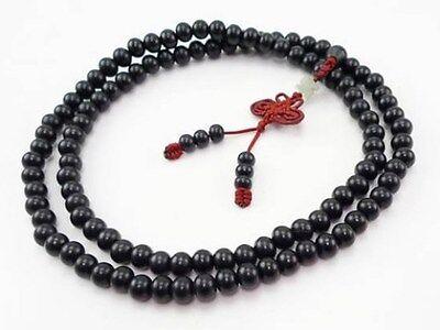 """Delicate 108 6mm Black Sandalwood Prayer Bead Butterfly Tassel Mala Necklace 24"""""""