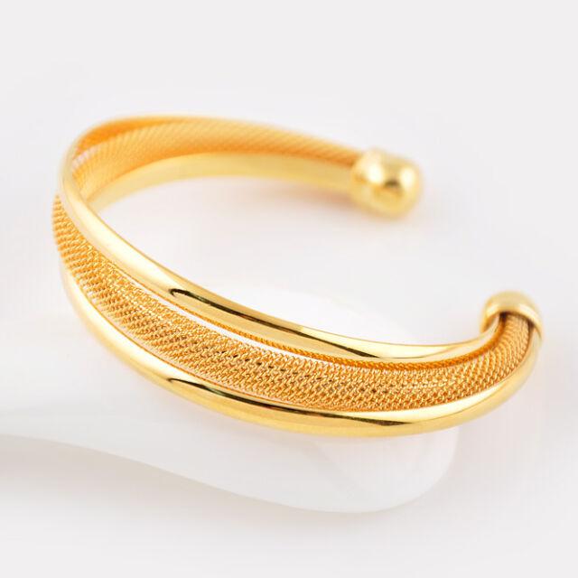 Women's Open Bangle 24K Yellow Gold Filled Bracelet Lovely gift Fashion Jewelry