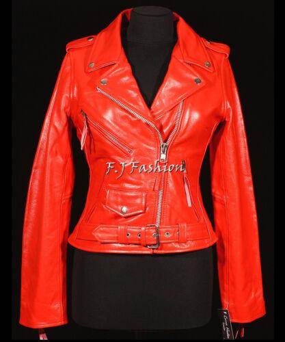 motard Nouveau style femmes cuir de véritable vachette pour Red Keira Veste Ladies en gaXSpnq