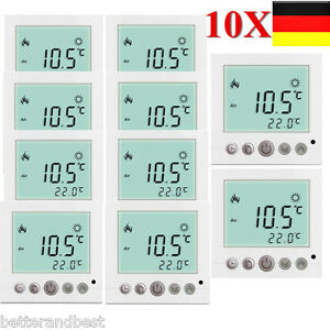 10x digital digitale thermostat raumthermostat fu bodenheizung aufputz unterputz ebay. Black Bedroom Furniture Sets. Home Design Ideas