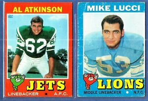 1971-Topps-Football-Cards-2-Card-Lot-A-Atkinson-M-Lucci-VG-EX-Jets-Lions