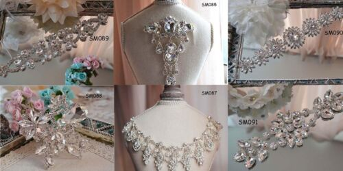 Bridal Crystal Rhinestone Applique Trims Craft Iron on Wedding Dress Belt Sash