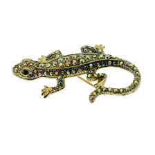 Gecko / Lizard Pin Brooch + Aurora Borealis Crystals Gold Tone Vintage Style