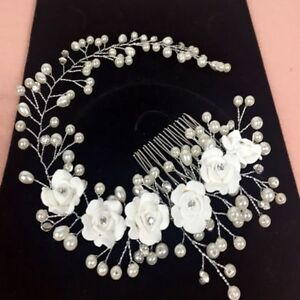 f818f3644ccc7 Flower Crystal Pearl Prom Hair Ornaments Hair Comb Bridal Headpiece ...