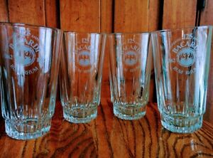 Lot-4-BACARDI-RUM-Etched-5-034-Tall-Glass-Glassware-125-anniversary-1862-1987-Lot