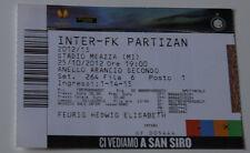 Ticket for collectors EL Inter Milan - Partizan Beograd 2012 Italy Serbia