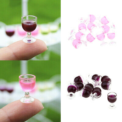 Set of 10pcs Miniature Champagne Cup Wine Glasses Dollhouse Food Groceries