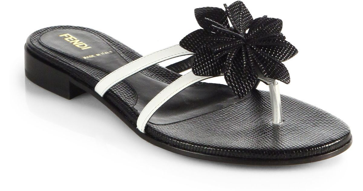 FENDI JUNGLE FLOWER PATENT LEATHER THONG SANDALS I LOVE SHOES