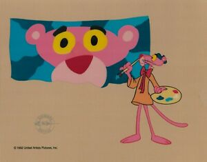 Dad-039-s-Day-Pink-Panther-034-Pink-Artist-034-Sericel-cel-1992-Paint-palette-fun