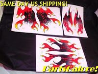Decal / Sticker Set, Red / Black Flame, Small To Medium Size Atv Utv, F3
