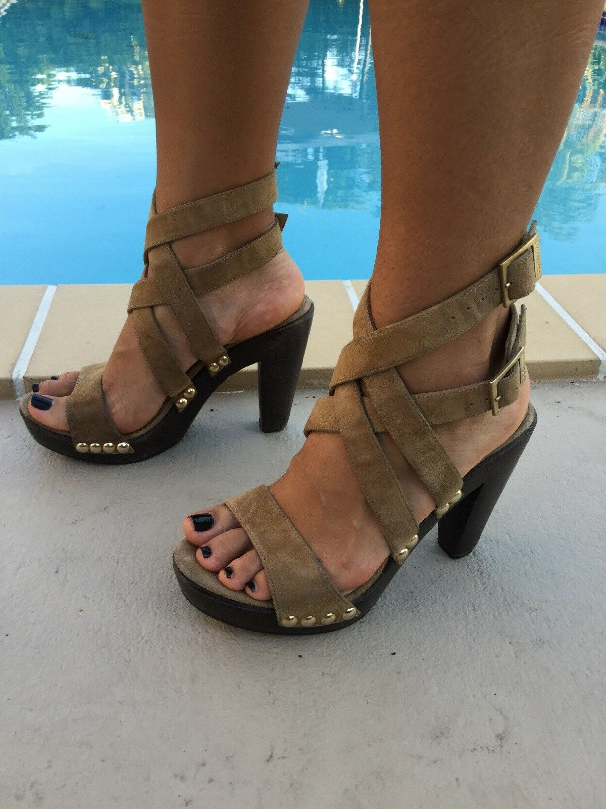 rivenditore di fitness JIMMY CHOO Marrone SUEDE SUEDE SUEDE CHUNKY WOOD HEEL STRAPPY SANDALS Sz 38B MADE IN ITALY  nuovo di marca