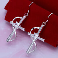 New Women 925 Sterling Silver Plated Fashion Cross Hook Dangle Earrings Jewelry