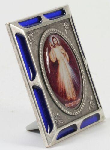 Icon Larks Holy Picture Jesus Enamel Aluminium Plastic Blue Antique 43x53mm